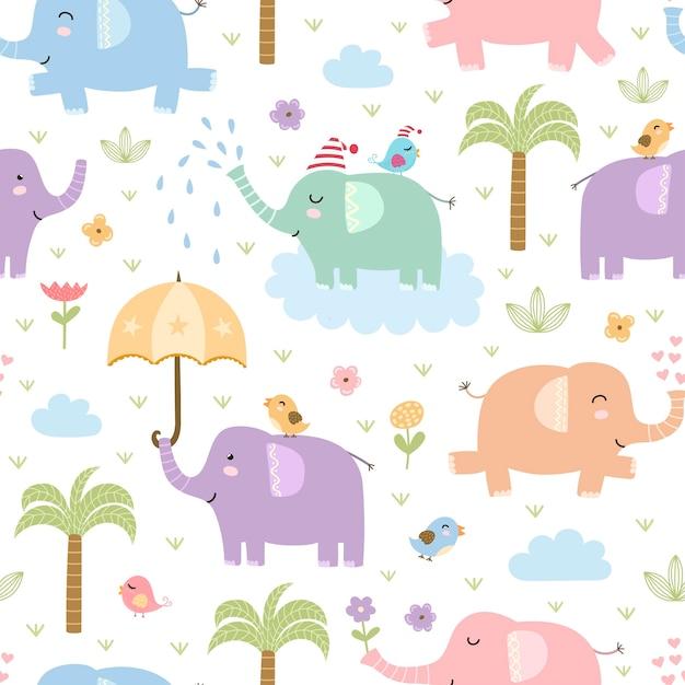 Nahtloses muster der netten elefanten. Premium Vektoren