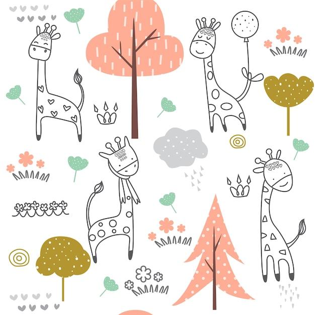 Nahtloses muster der netten giraffe Premium Vektoren