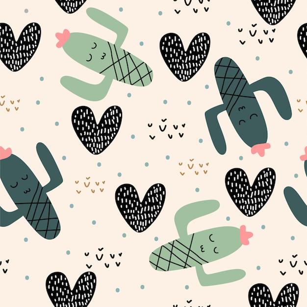 Nahtloses muster der netten kaktuspflanzen mit den kindern, die für baby- und kinderkleidermode zeichnen Premium Vektoren