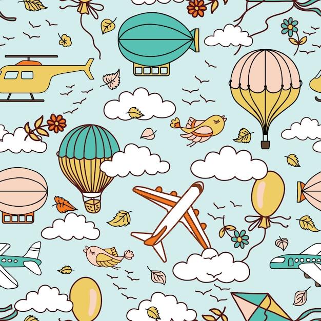 Nahtloses muster der netten luft mit heißluftballonen, -vögeln und -wolken Premium Vektoren