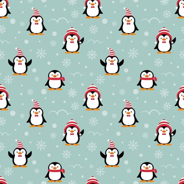 Nahtloses muster der netten pinguinkarikatur. Premium Vektoren