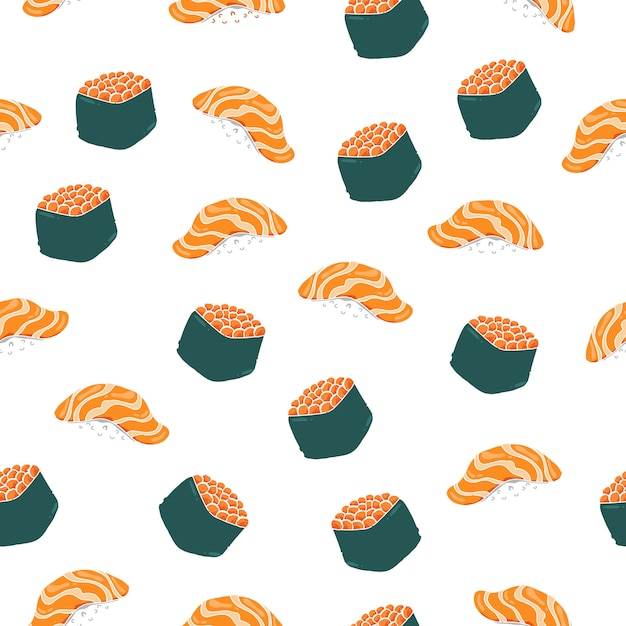 Nahtloses muster der nigiri-sushi. Premium Vektoren