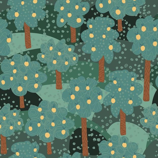 Nahtloses muster der obstbäume. Premium Vektoren