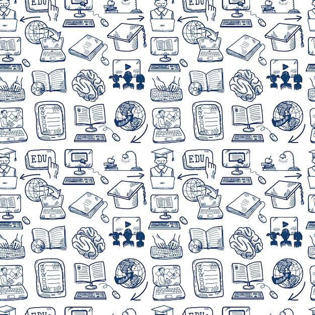Nahtloses muster der online-bildung, gekritzelart Kostenlosen Vektoren
