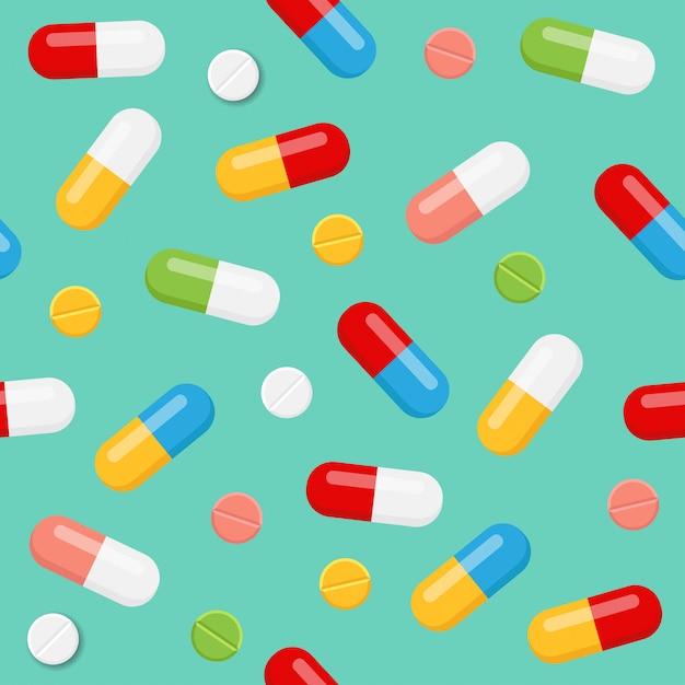 Nahtloses muster der pillen und der medizin auf blauem hintergrund Premium Vektoren