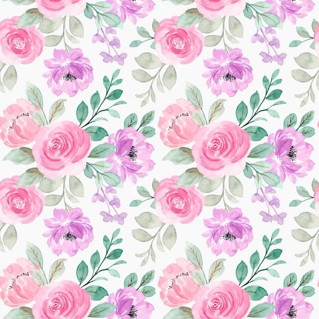 Nahtloses muster der rosa lila aquarellblumen Premium Vektoren
