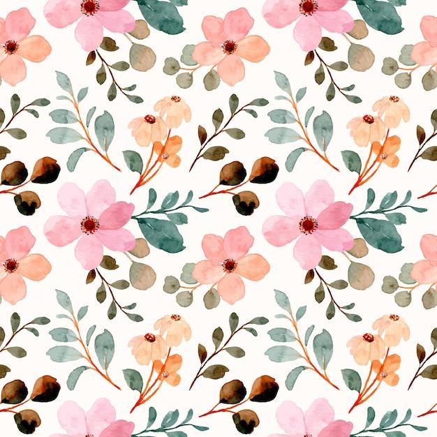 Nahtloses muster der rosa wildblumen mit aquarell Premium Vektoren