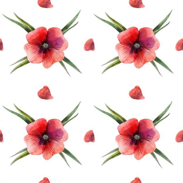 Nahtloses muster der roten mit blumenmohnblume Premium Vektoren