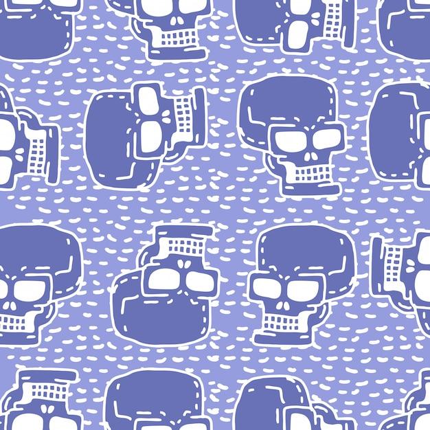 Nahtloses muster der schädelkarikatur. skelettkopf-zeichnungsverzierung. Premium Vektoren