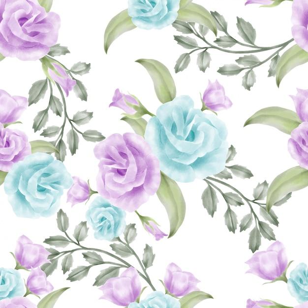 Nahtloses muster der schönen aquarellblumenrose elegant Premium Vektoren
