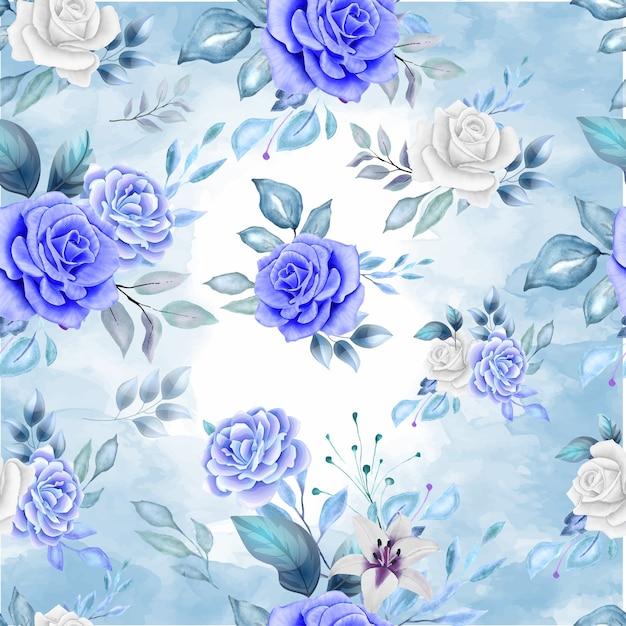 Nahtloses muster der schönen blume und der blätter im klassischen blau Premium Vektoren