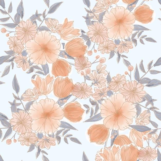 Nahtloses muster der schönen orange blume Premium Vektoren