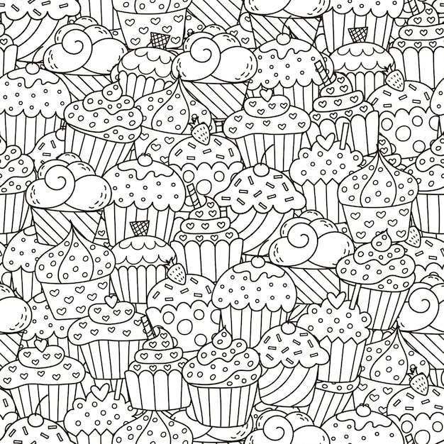 Nahtloses muster der schwarzweiss-kleinen kuchen Premium Vektoren
