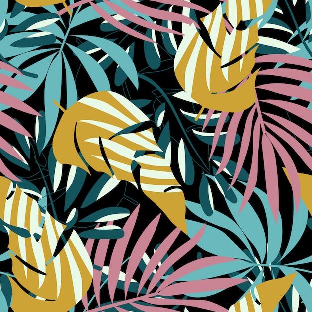 Nahtloses muster der sommertendenz mit hellen tropischen blättern und pflanzen Premium Vektoren