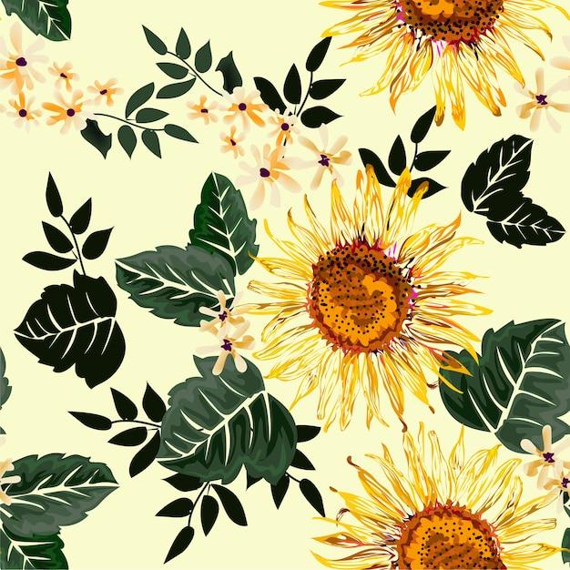 Nahtloses muster der sonnenblume auf hellgelbem Premium Vektoren