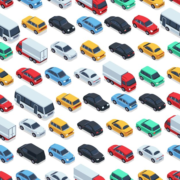 Nahtloses muster der städtischen autos. isometrische autos. nahtlose musterfarbautoillustration Premium Vektoren