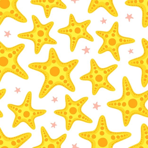 Nahtloses muster der starfish. Premium Vektoren