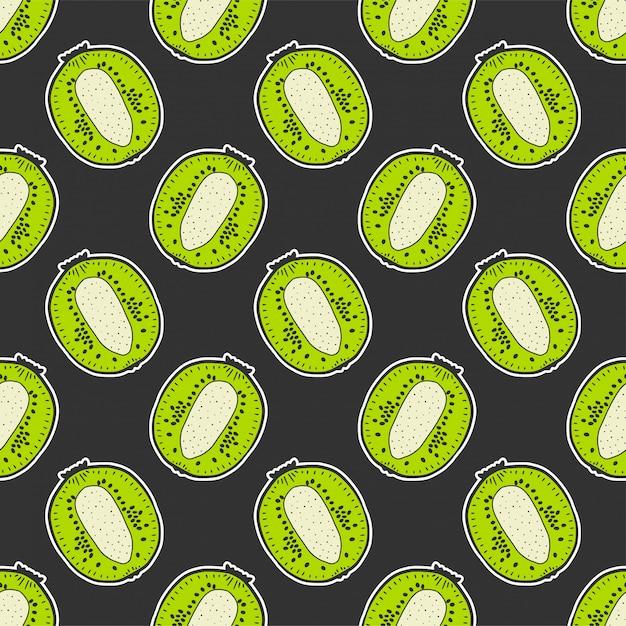 Nahtloses muster der süßen reifen kiwi Premium Vektoren