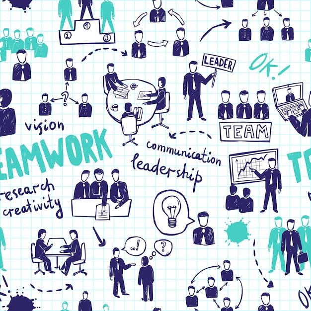 Nahtloses muster der teamarbeit Kostenlosen Vektoren