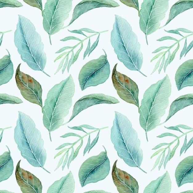 Nahtloses muster der tropischen blätter mit aquarell Premium Vektoren