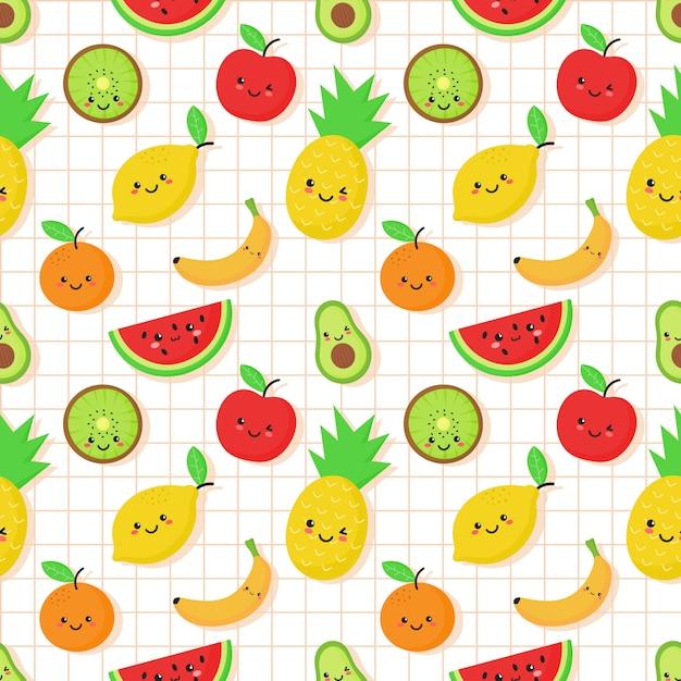 Nahtloses muster der tropischen frucht in der kawaii art Premium Vektoren