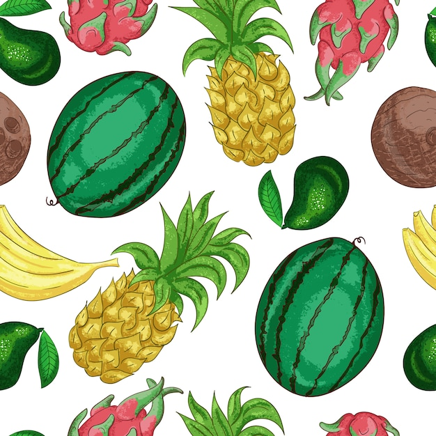 Nahtloses muster der tropischen fruchten. süße tropische frucht schnitt in stücklinie kunst. exotische ananas farbe. vitaminhaltiger nachtisch, bestandteil der vegetarischen diät Premium Vektoren
