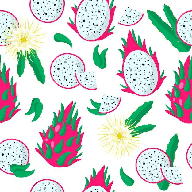 Nahtloses muster der vektorkarikatur mit exotischen früchten, blumen und blättern von hylocereus, undatus oder drachenfrucht Premium Vektoren