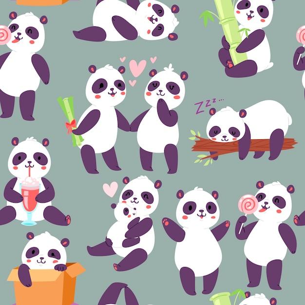 Nahtloses muster der verschiedenen positionen der panda-charaktere Premium Vektoren