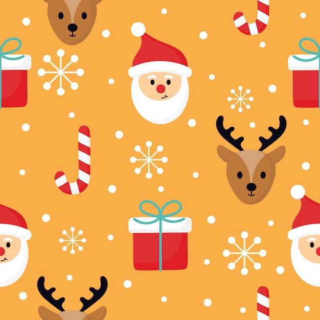 Nahtloses muster der weihnachtscharaktere auf orange hintergrund. Premium Vektoren