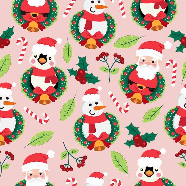 Nahtloses muster der weihnachtskarikatur mit pinguin und weihnachtsmann Premium Vektoren