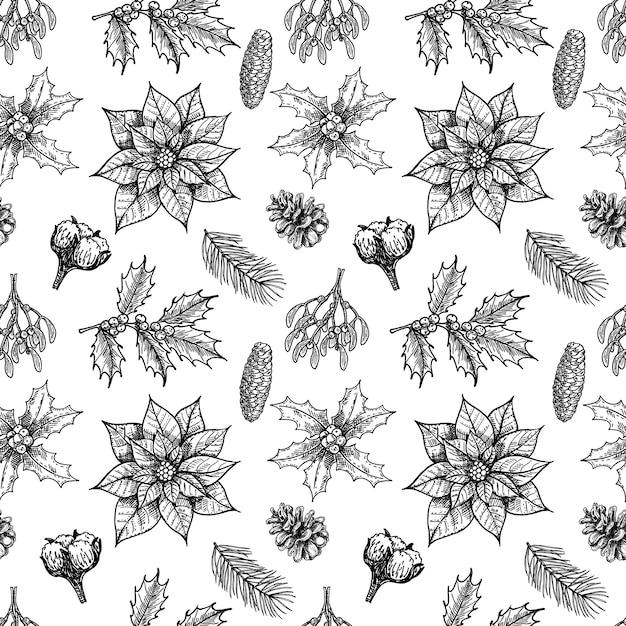 Nahtloses muster der weihnachtspflanzen mit vintage-winterblumen immergrünen nadelbäume pflanzen design mit handgezeichneten botanischen elementen Premium Vektoren