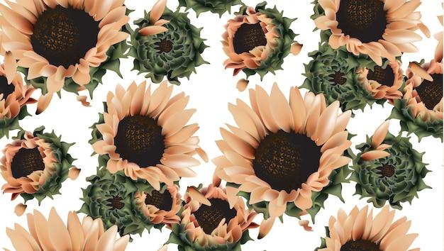 Nahtloses muster der weinlesesonnenblumen Premium Vektoren