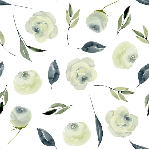 Nahtloses muster der weißen rosen des aquarells Premium Vektoren