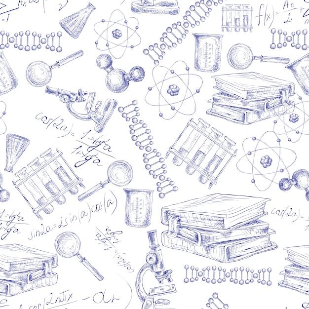 Nahtloses muster der wissenschaftsskizze Premium Vektoren
