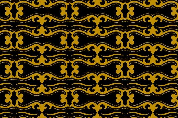 Nahtloses muster des abstrakten geometrischen goldes und des schwarzen batiks der art deco. javanische verzierung Premium Vektoren