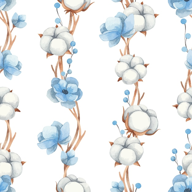 Nahtloses muster des aquarells von baumwollblumen, blauen anemonenblumen und zweigen, lokalisiert auf einem weißen hintergrund Premium Vektoren