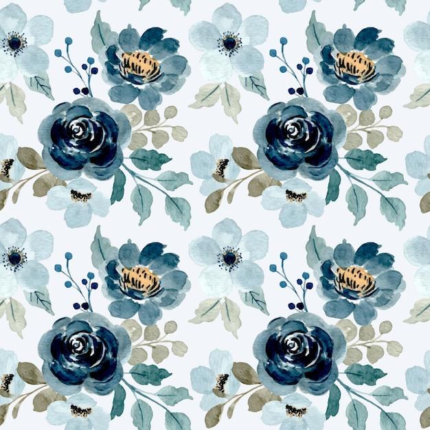 Nahtloses muster des blauen blumen mit aquarell Premium Vektoren