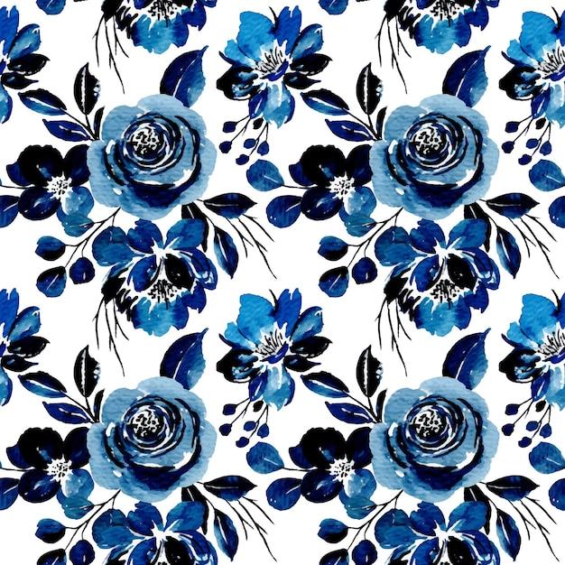 Nahtloses muster des blauen blumenaquarells Premium Vektoren