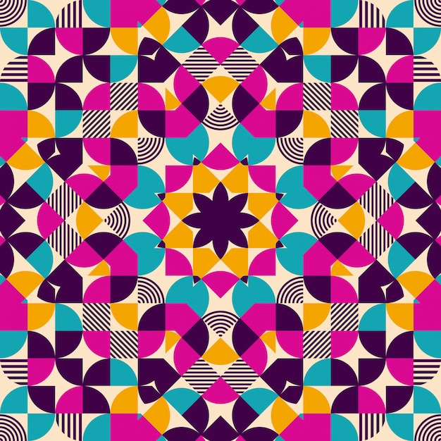 Nahtloses muster des flachen geometrischen kaleidoskops Premium Vektoren