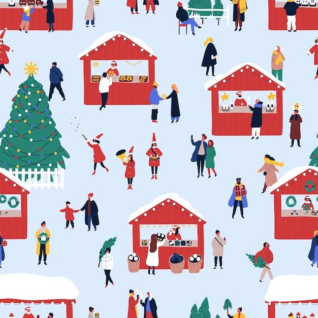 Nahtloses muster des flachen vektors der weihnachtsstraßenmesse Premium Vektoren