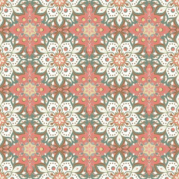Nahtloses muster des floralen mandalas Kostenlosen Vektoren