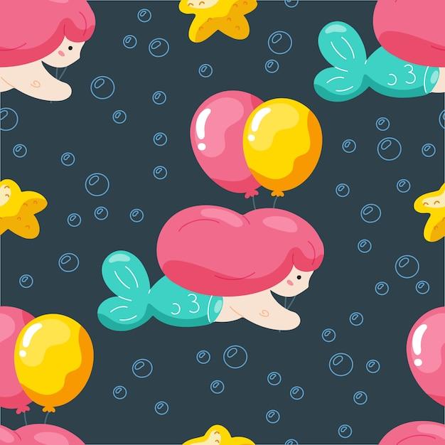 Nahtloses muster des geburtstages mit netter meerjungfrau und ballonen. Premium Vektoren