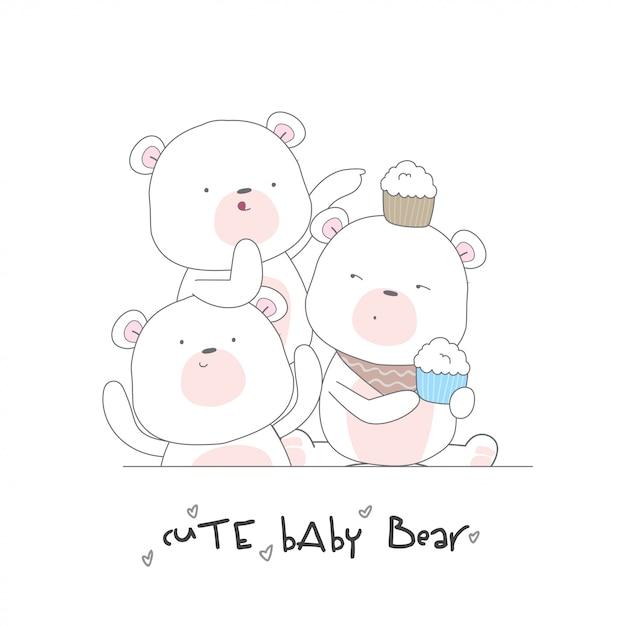 Nahtloses muster des glücklichen netten babybären Premium Vektoren
