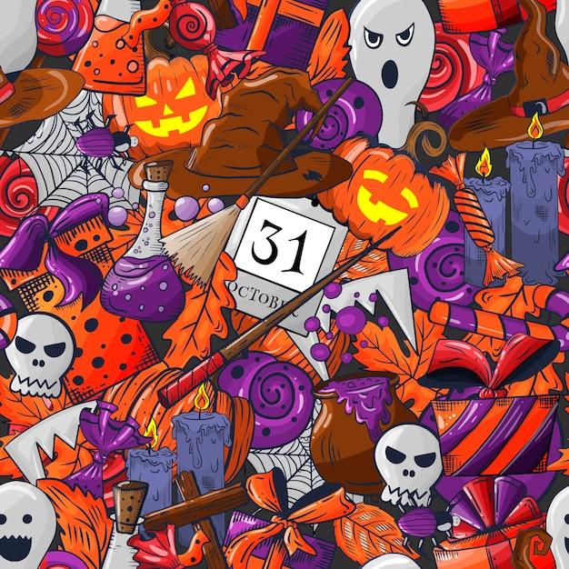 Nahtloses muster des halloween-gekritzels. Premium Vektoren