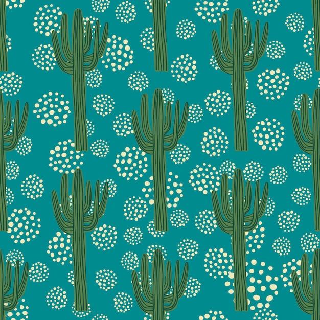 Nahtloses muster des kaktus auf grün Premium Vektoren