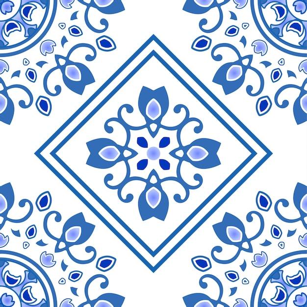 Nahtloses muster des keramikziegels in portugal-art, im azulejo, im blauen und weißen dekorativen mit blumenmuster Premium Vektoren
