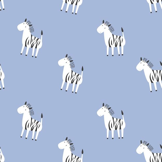 Nahtloses muster des kindervektors mit zebras. gekritzelstil Premium Vektoren