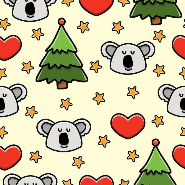 Nahtloses muster des koala-cartoon-gekritzels Premium Vektoren