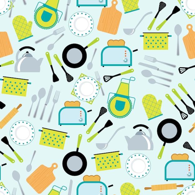 Nahtloses muster des kochenden zubehörs Kostenlosen Vektoren