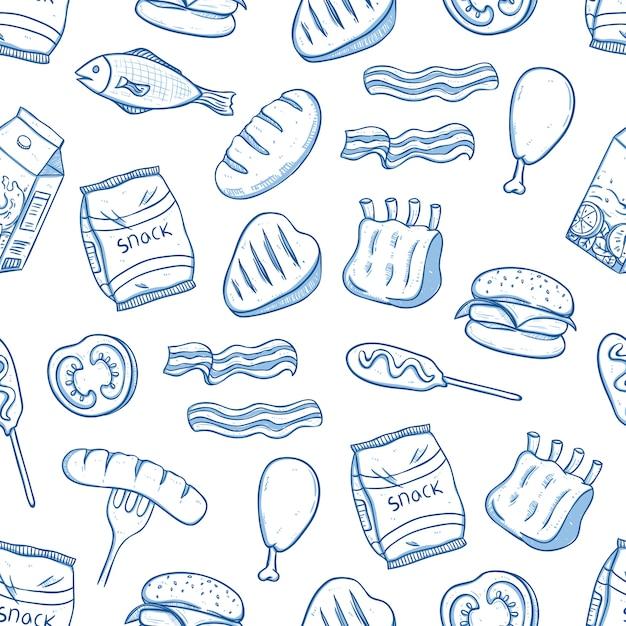 Nahtloses muster des köstlichen mittagessenlebensmittels mit gekritzel oder hand gezeichneter art Premium Vektoren